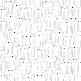 Seamless pattern cute rabbit