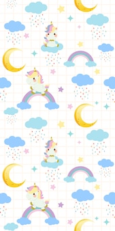 Seamless pattern of cute rainbow unicorn sitting on a rainbow on white background
