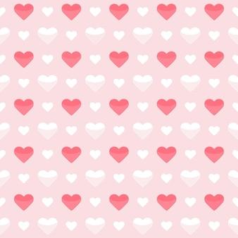 Бесшовные модели милые красные и белые сердца на розовом. векторная иллюстрация