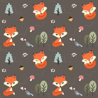 シームレスパターンかわいい赤いキツネの森。