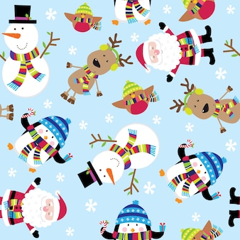 Seamless pattern of cute santa and friends