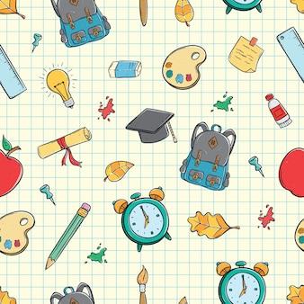 Seamless pattern of cute school supplies using doodle art on paper background