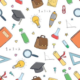 Seamless pattern of cute school supplies using doodle art