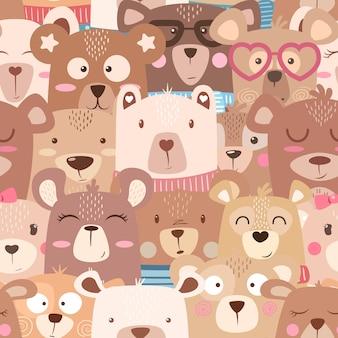Seamless pattern - cute set bear