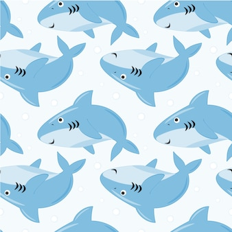 Seamless pattern cute sharks with bubbles