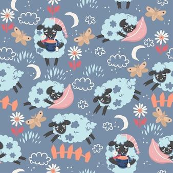Seamless pattern of cute sleepy lambs