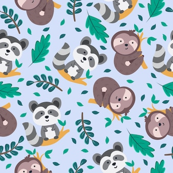 Seamless pattern of cute sloth and racoon in branch