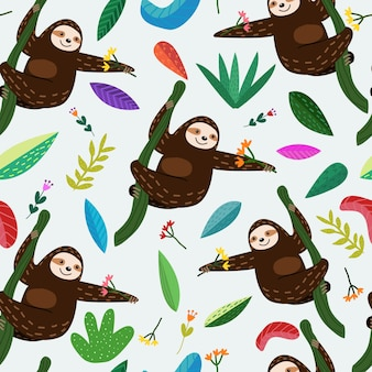 Seamless pattern cute sloth with flower and leaf cartoon.