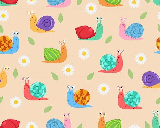 Seamless pattern of cute snail with flower and leaf