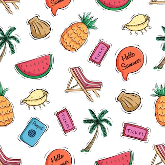 Seamless pattern of cute summer elements and fruits with colored doodle style