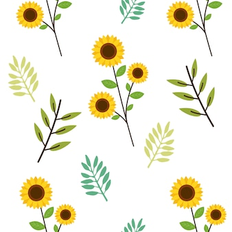 The seamless pattern of cute sunflower and leaves in flat   style.