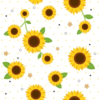 The seamless pattern of cute sunflower and polka dot in flat vector style.
