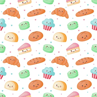 Seamless pattern cute sweet and dessert