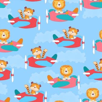 Бесшовный узор милый тигр и леон на самолете в мультяшном стиле.