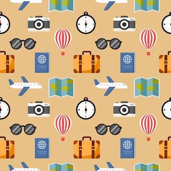クリームに分離されたシームレスなパターンかわいい旅行漫画スタイル