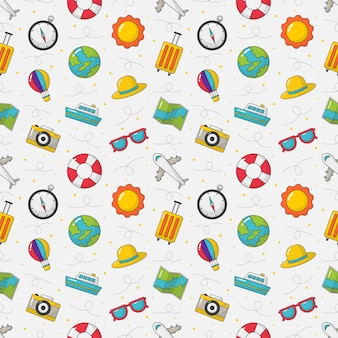 Seamless pattern cute travel. cartoon style isolated on white background.