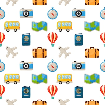 Seamless pattern cute travel. cartoon style isolated