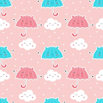 Seamless pattern of cute umbrellas with clouds, rain of hearts.