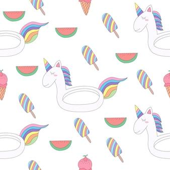 Seamless pattern cute unicorn cartoon hand drawn style.