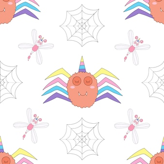 Seamless pattern cute unicorn cartoon hand drawn style.