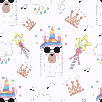 Seamless pattern cute unicorn cartoon hand drawn.