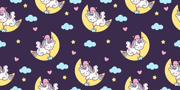Seamless pattern cute unicorn pegasus cartoon sleep on moon kawaii animal