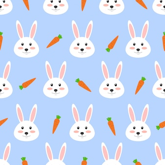 Seamless pattern of cute white rabbit with carrot