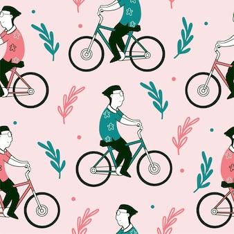 Seamless pattern of cycling man