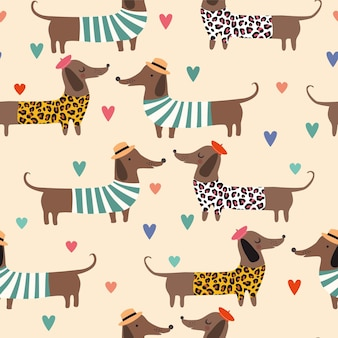 Seamless pattern of dachshunds with hats in summer dress and hearts on clolorful background