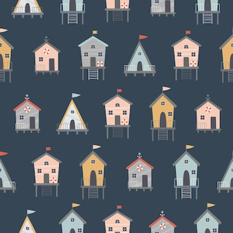 Seamless pattern on a dark background colorful cute beach houses