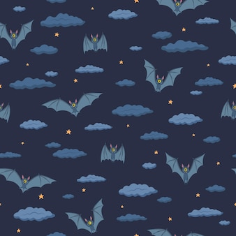 Seamless pattern on a dark blue background. bats fly in the night sky. stars and clouds. halloween. vector illustration in a flat style. for wrapping paper, textiles, design
