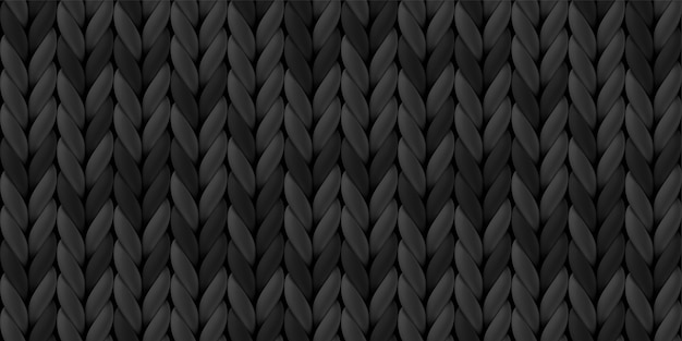 Seamless pattern of dark gray knitted woolen cloth.