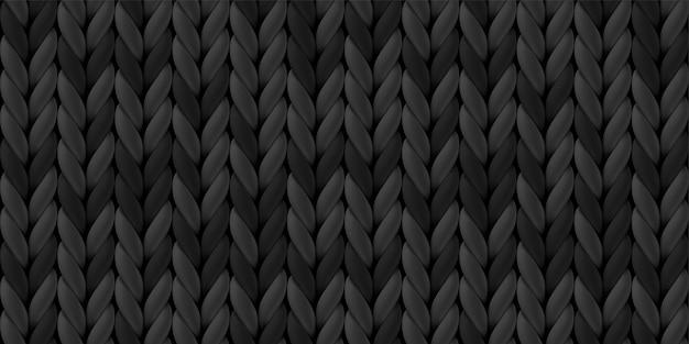 Seamless pattern of dark gray knitted woolen cloth.