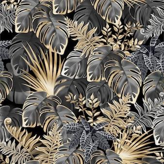 熱帯植物のシームレスなパターンの暗い葉。