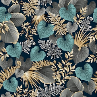 Seamless pattern dark leaves palm trees, lianas