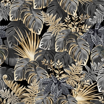 Seamless pattern dark leaves of tropic plants.