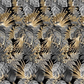 Seamless pattern dark leaves of tropic plants.