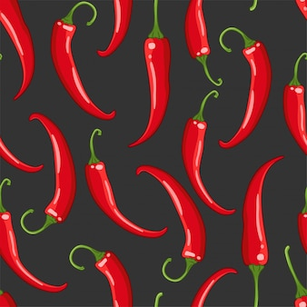 Seamless pattern on dark with chilli pepper