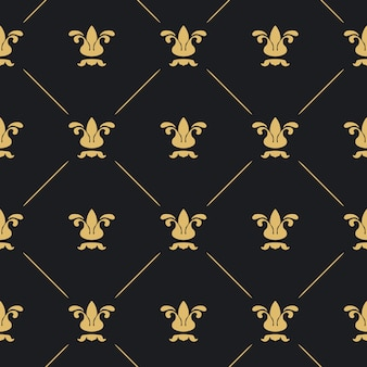 Seamless pattern decor. black background with golden element.