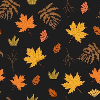 どんぐり、カエデの葉、枝、シダなどの花の要素で飾られたシームレスなパターン。テキスタイル、ファブリック、包装紙、ウォールペーパープリントとして使用できる秋の収穫のイラスト。