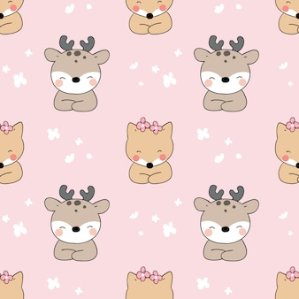 Seamless pattern deer and fox on pink pastel.