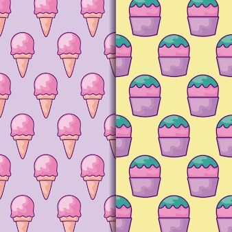 Seamless pattern of delicious ice creams