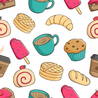 Seamless pattern of delicious pastry with cupcake, ice cream, and coffee cup on white background
