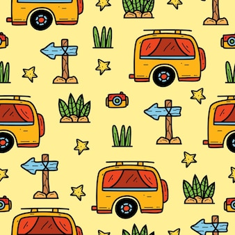 Seamless pattern design of doodle cartoon camper