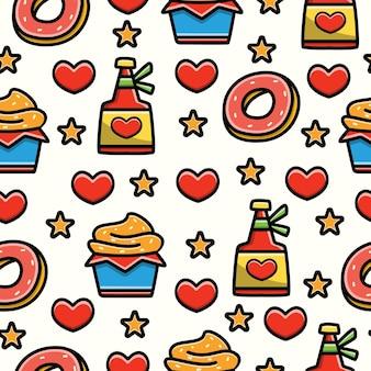 Seamless pattern design of doodle cartoon dessert and cupcake