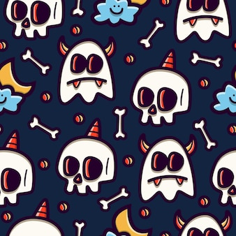 Seamless pattern design of doodle cartoon skull and ghost