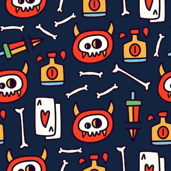 Seamless pattern design of doodle cartoon skull