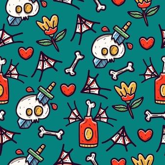Seamless pattern design of doodle cartoon skull