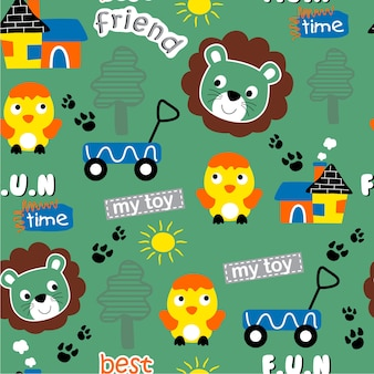 Seamless pattern design, funny animal cartoon