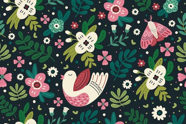 귀여운 꽃의 완벽 한 패턴 디자인